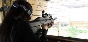Wife shooting an FN Herstal FS2000 Tactical Carbine